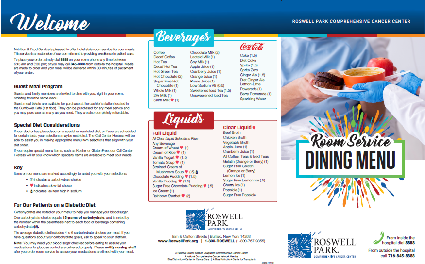 Roswell Park room service menu
