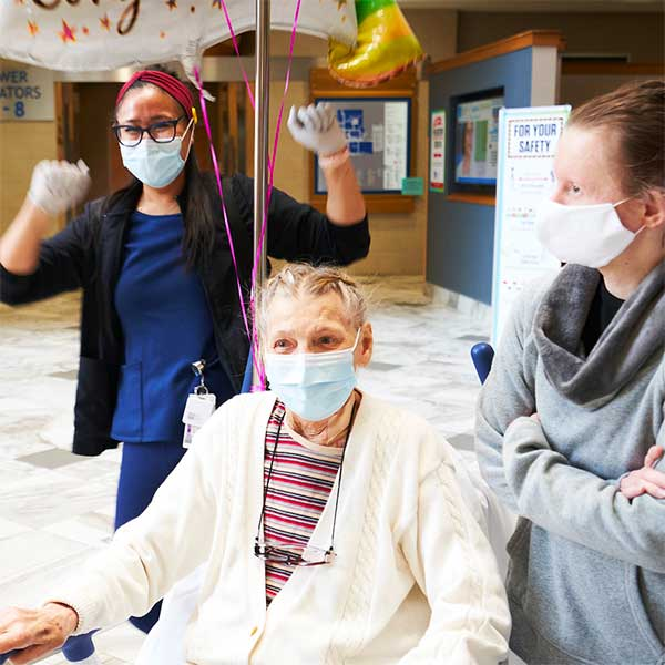 Visitors and Patients wearing masks