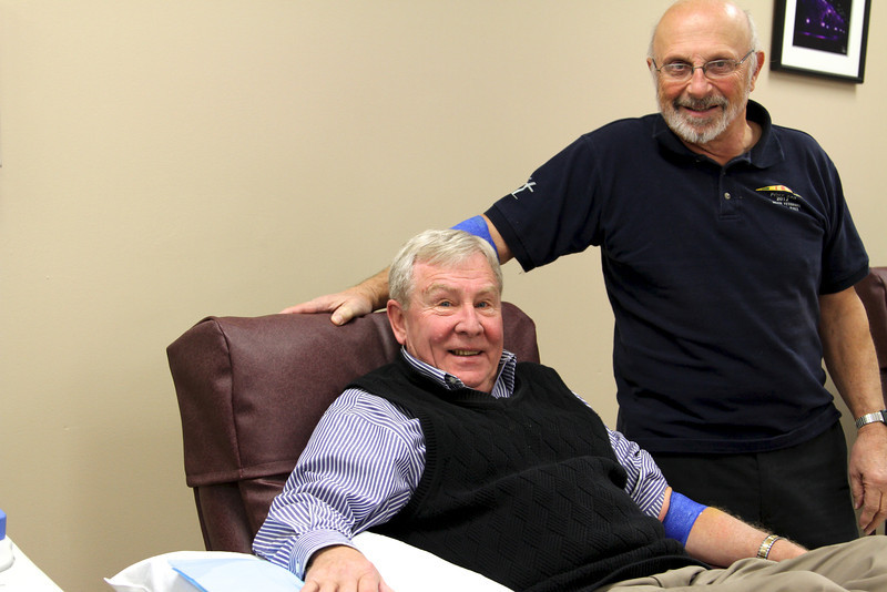 Dan McCue and Richard Casseri are two of Roswell Park's most committed platelet donors.