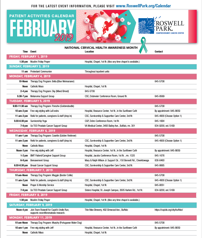 Find dates and times for support groups, workshops and events on our February 2019 Patient Calendar.