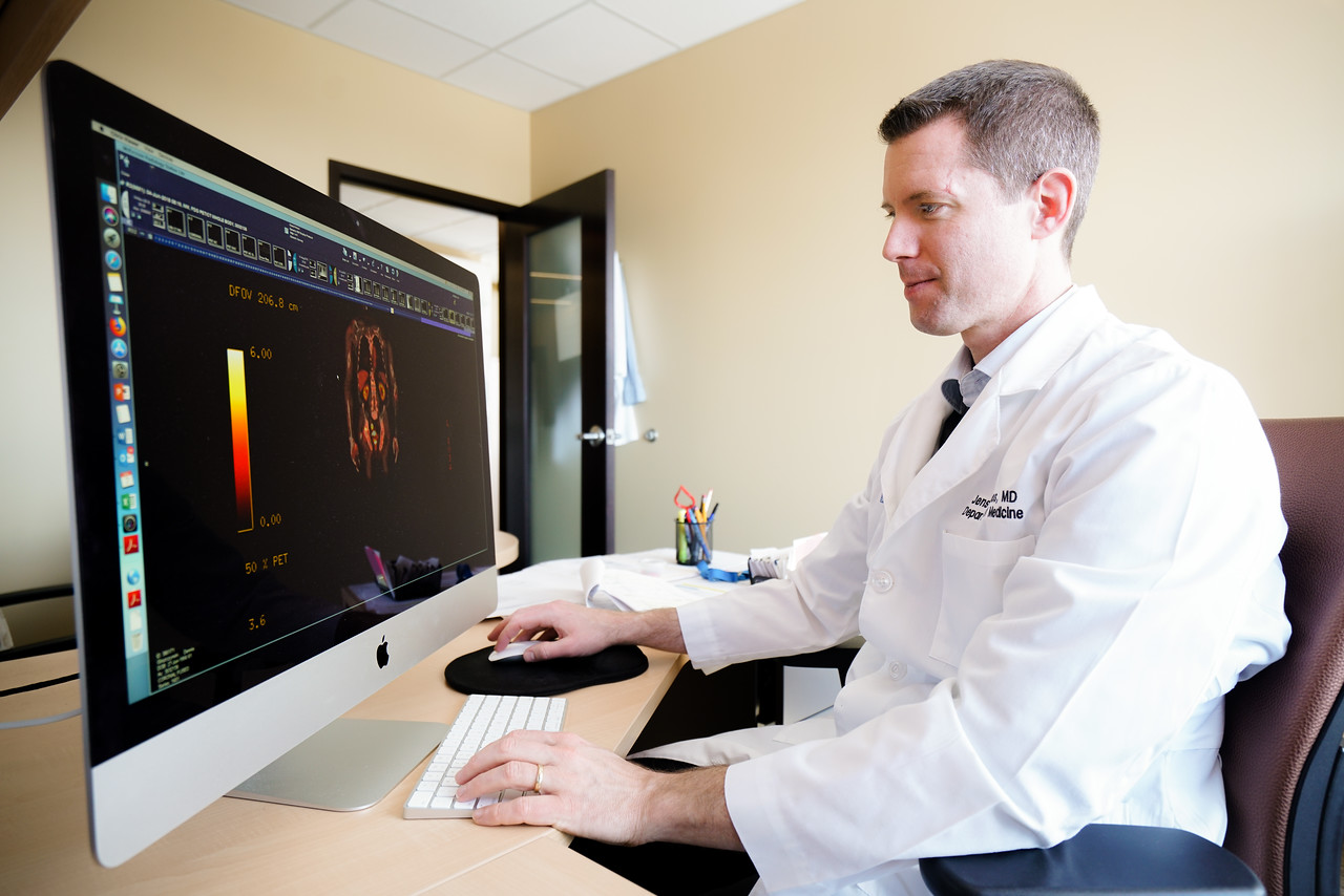 Dr. Hillengass analyzes CT scans to help diagnose Multiple Myeloma