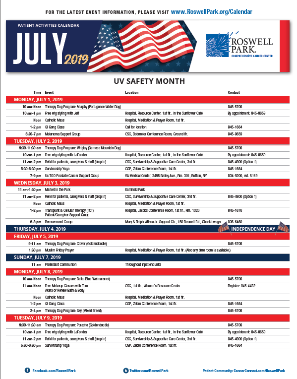 Find dates and times for support groups, workshops and events on our July 2019 Patient Calendar.