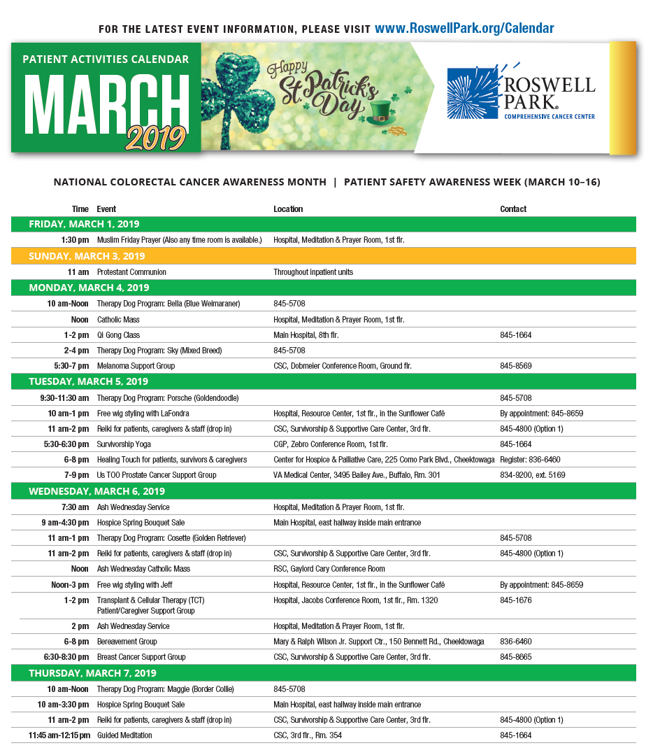 Find dates and times for support groups, workshops and events on our March 2019 Patient Calendar.