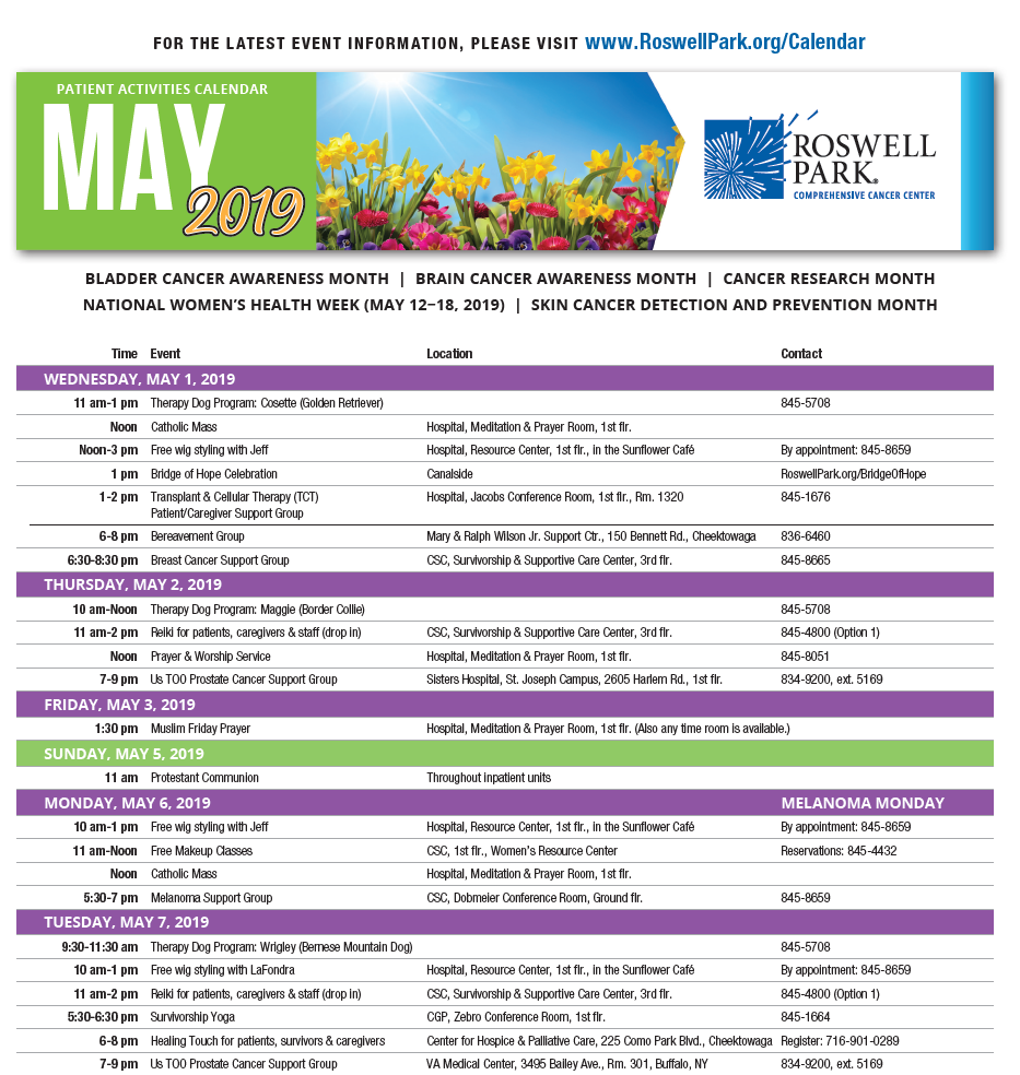 Find dates and times for support groups, workshops and events on our May 2019 Patient Calendar.