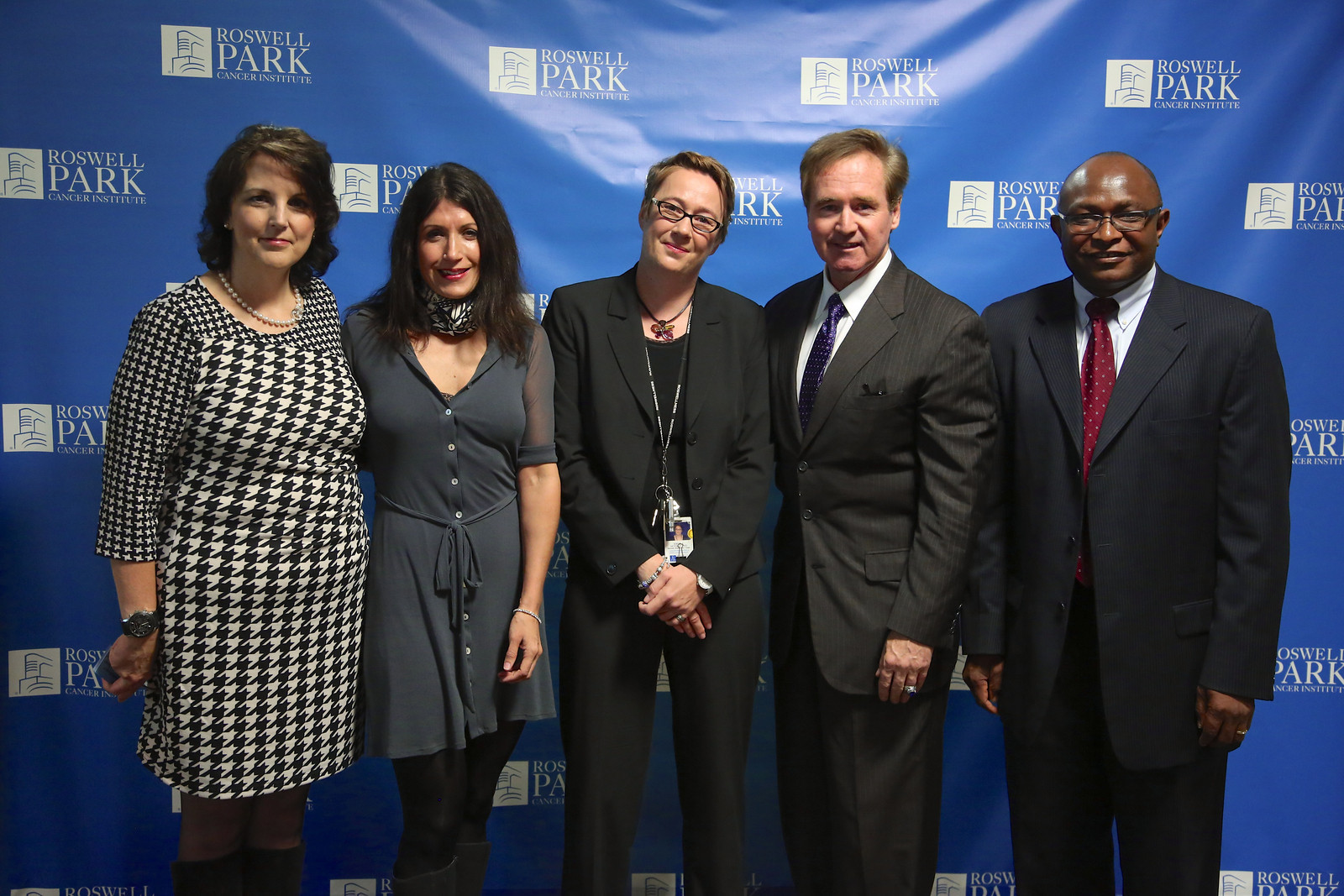 Ovarian cancer survivor, Kathleen Maxian attends the SPORE Press Conference with Lara Sucheston, PhD, Kirsten B. Moysich, PhD, MS, U.S. Congressman Brian Higgins and Kunle Odunsi, MD, PhD, FRCOG, FACOG