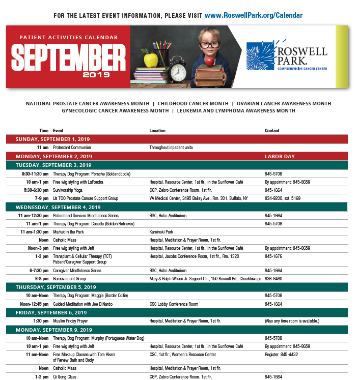 Find dates and times for support groups, workshops and events on our September 2019 Patient Calendar.