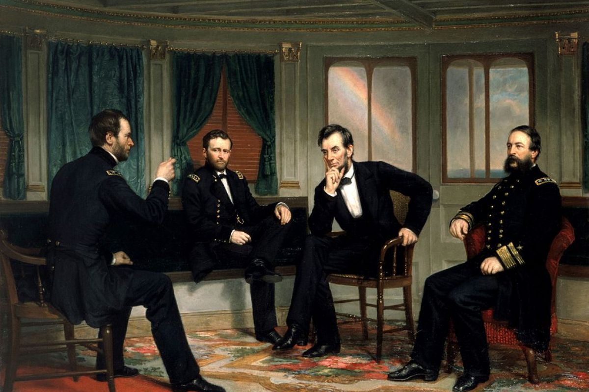 Painting of President Abraham Lincoln with Generals Grant and Sherman, and Rear Admiral Porter