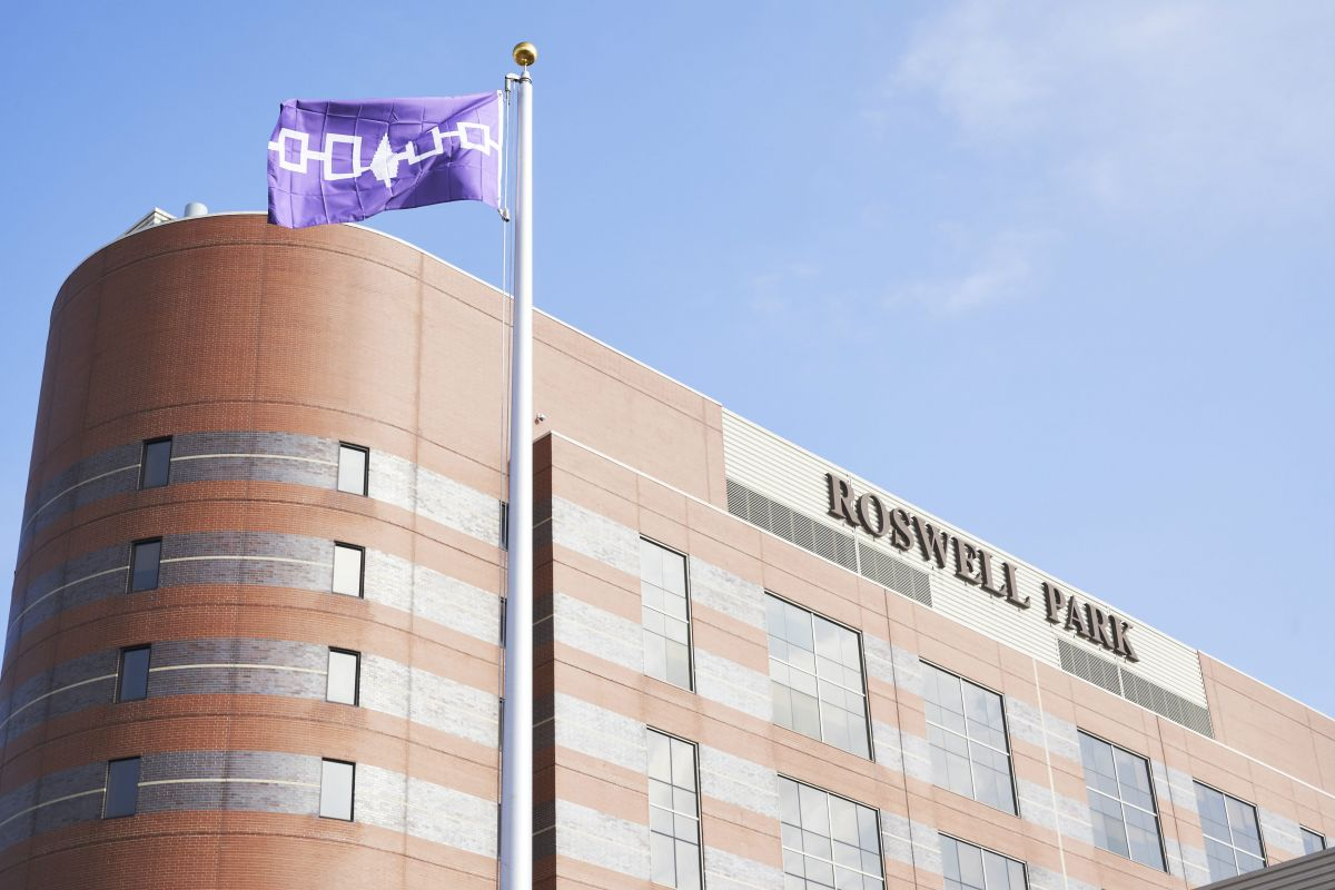 The Haudenosaunee flag is raised outside of Roswell Park in celebration of Native American Heritage Month on November 13, 2020.