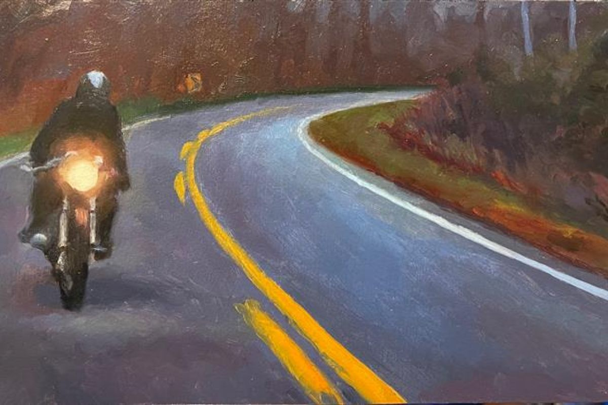Painting of a motorcyclist riding on a back road at dusk