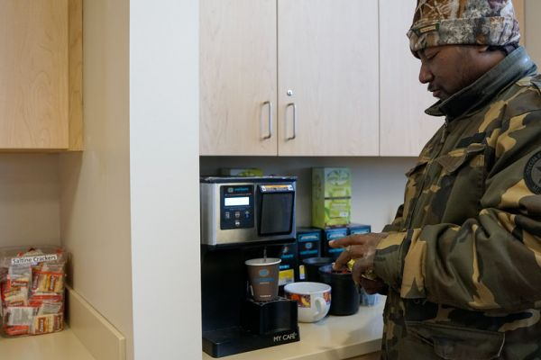 In the reception area of the new Chemotherapy & Infusion Center, a single-serve coffee maker has been replaced with a fully stocked station offering a wider selection of high-quality coffees and teas.