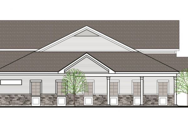 A rendering of the radiation oncology center to be built on the Oneida Healthcare campus in Madison County, N.Y., as part of a collaboration with Roswell Park.