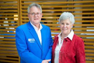 Look for volunteers in blue blazers for assistance at Roswell Park