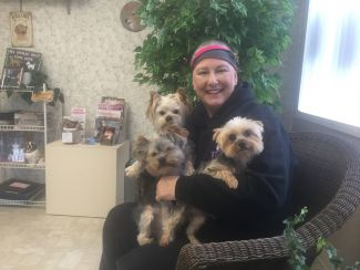 Cynthia with her supportive pups